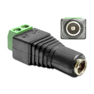 Delock Adapter DC 2,5 x 5,5 mm Buchse > Terminalblock 2 Pin